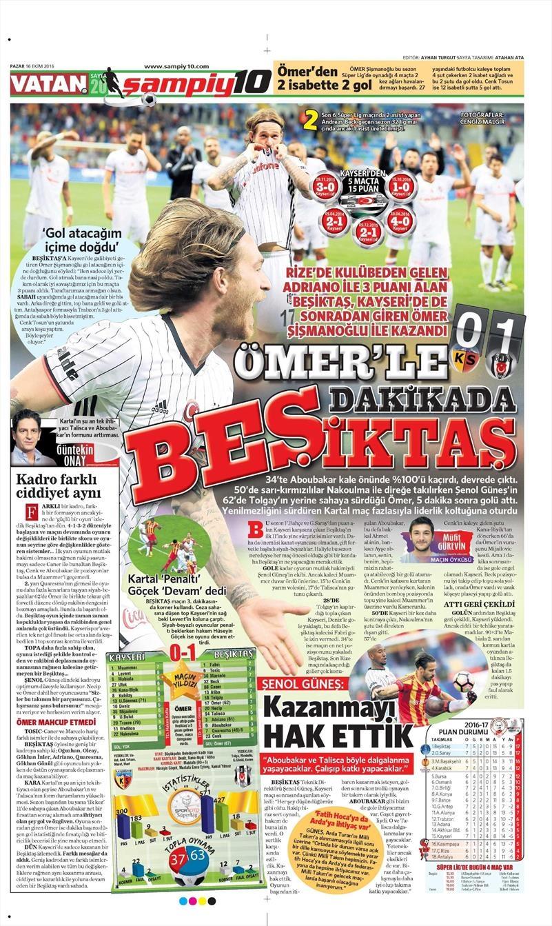 16 Ekim 2016 | Gazetelerin Beşiktaş Manşetleri 33