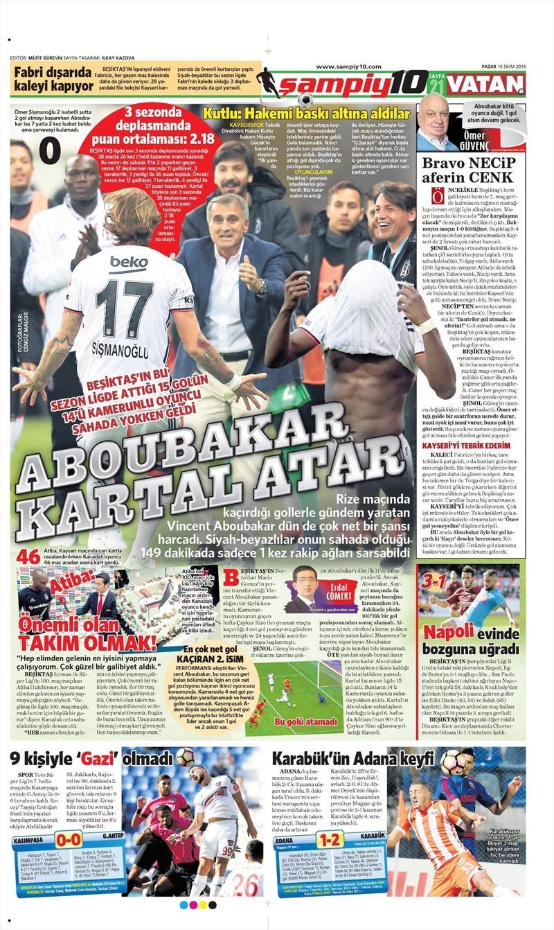 16 Ekim 2016 | Gazetelerin Beşiktaş Manşetleri 34