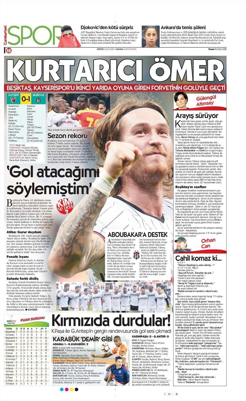 16 Ekim 2016   Gazetelerin Beşiktaş Manşetleri 35