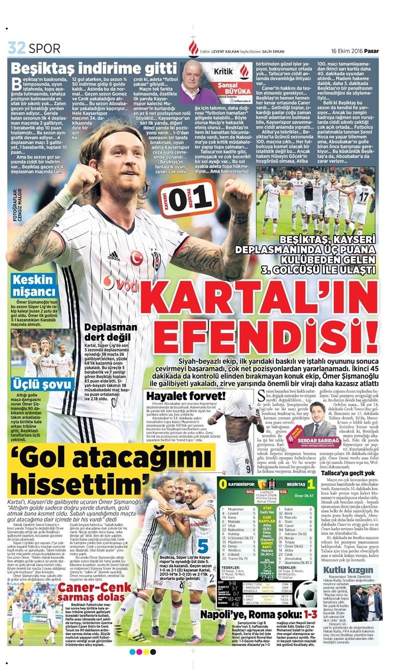 16 Ekim 2016   Gazetelerin Beşiktaş Manşetleri 6