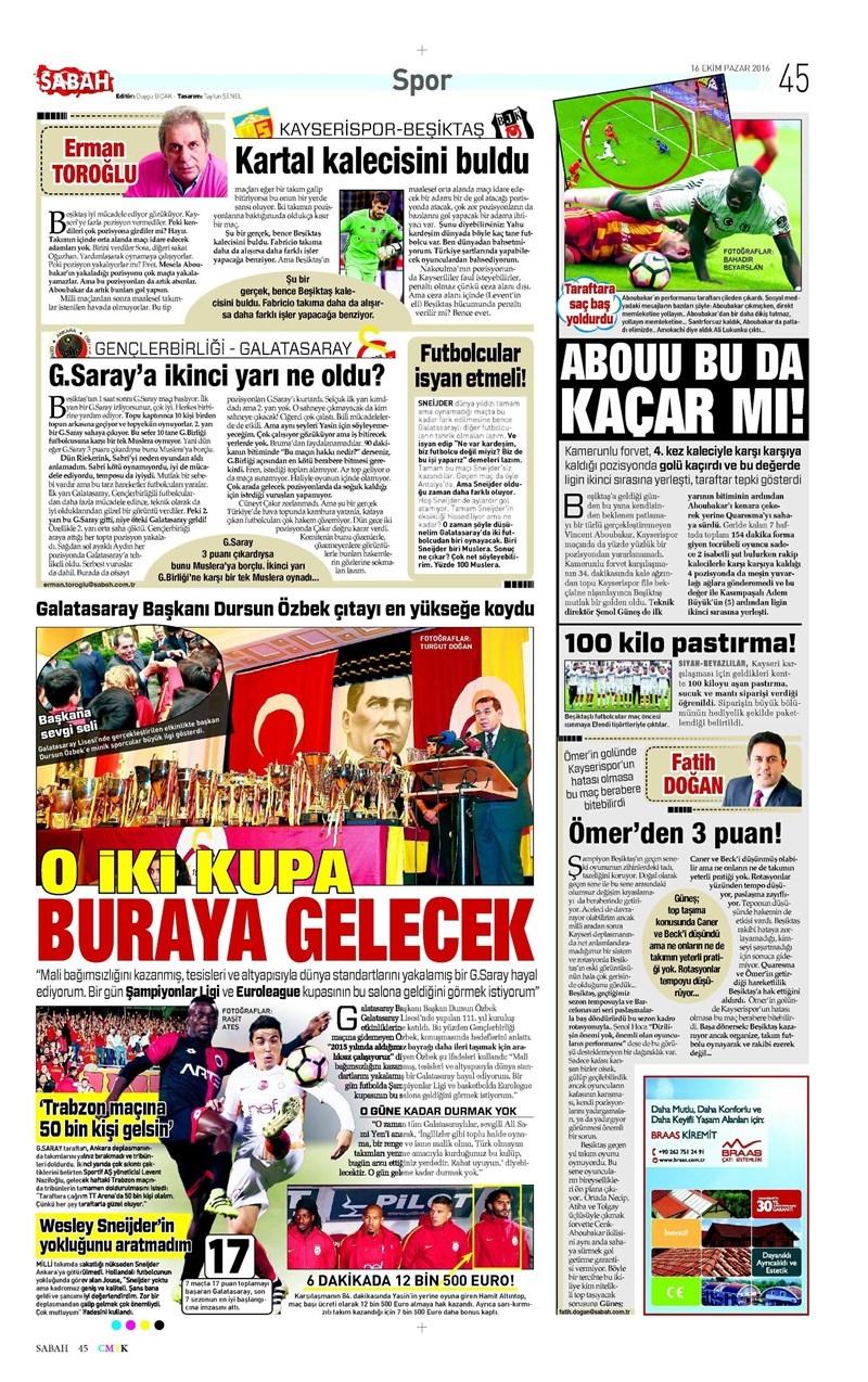 16 Ekim 2016 | Gazetelerin Beşiktaş Manşetleri 7