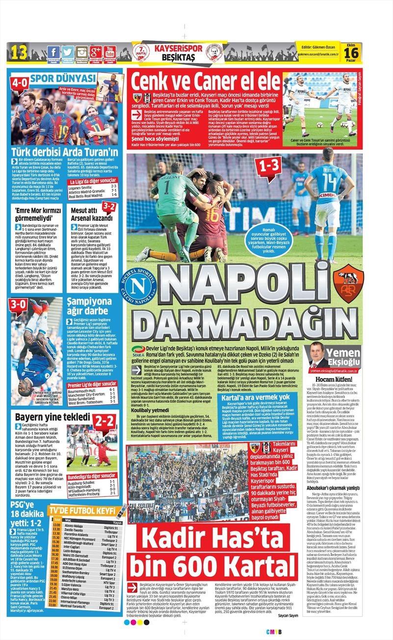 16 Ekim 2016 | Gazetelerin Beşiktaş Manşetleri 8