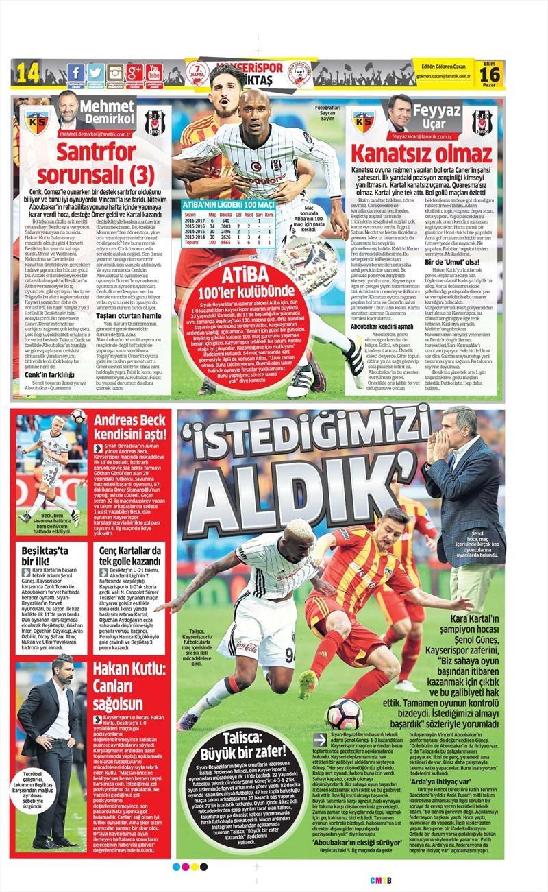 16 Ekim 2016 | Gazetelerin Beşiktaş Manşetleri 9