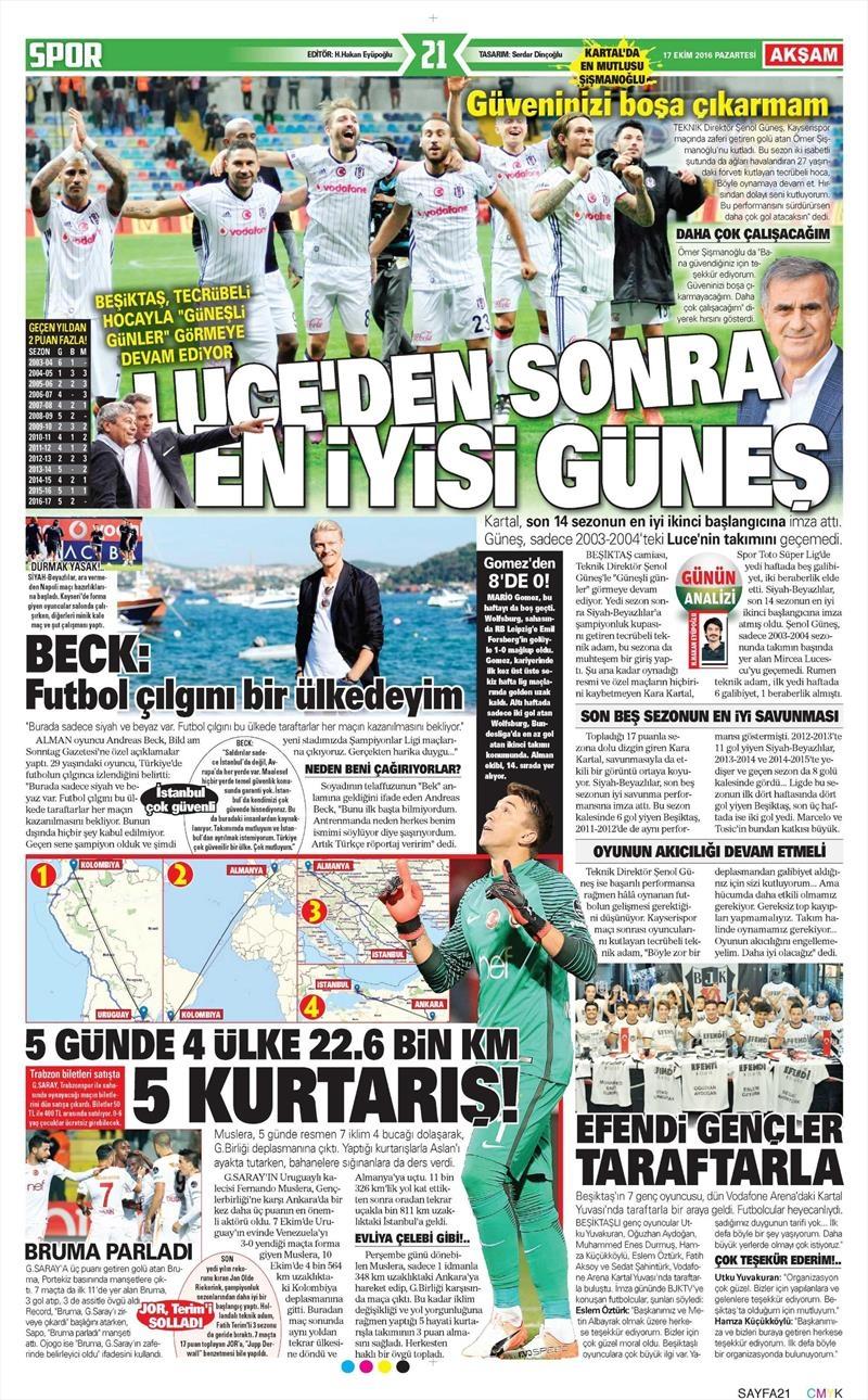 17 Ekim 2016 | Gazetelerin Beşiktaş manşetleri 1