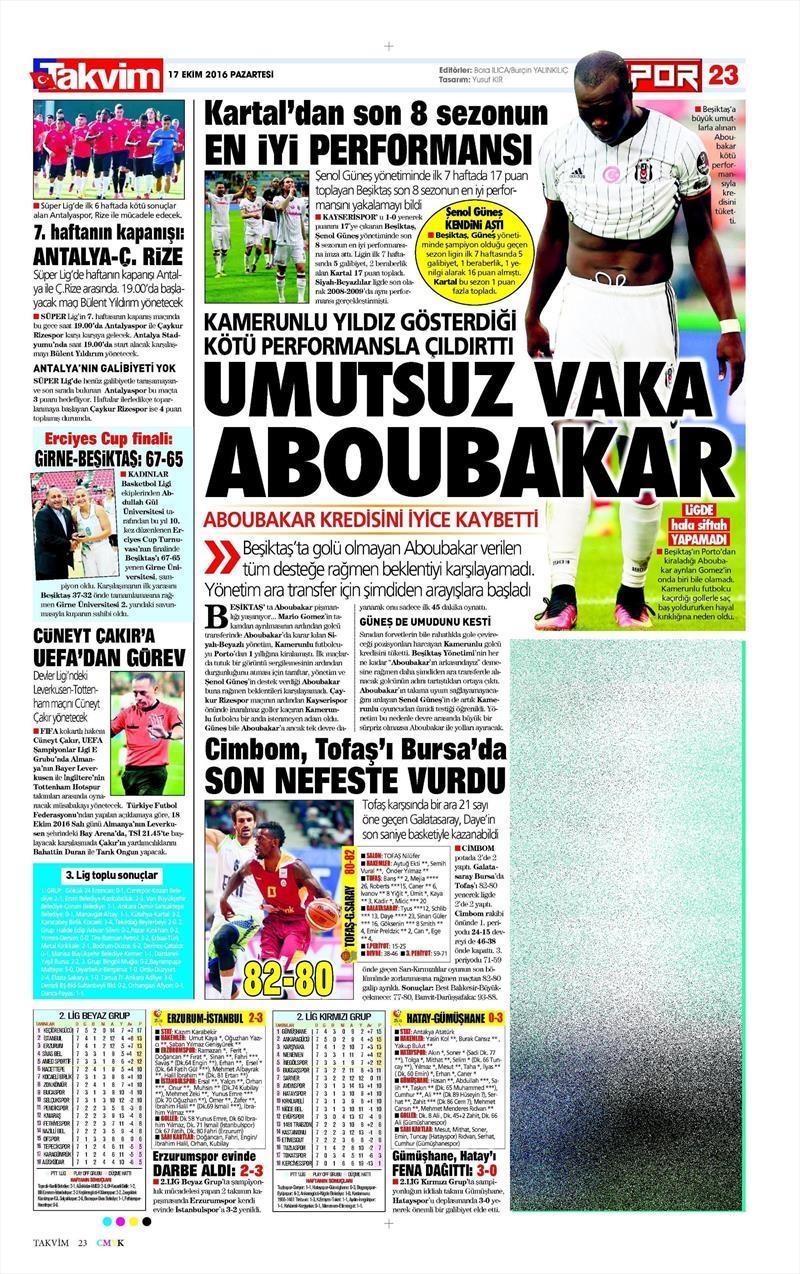17 Ekim 2016 | Gazetelerin Beşiktaş manşetleri 11
