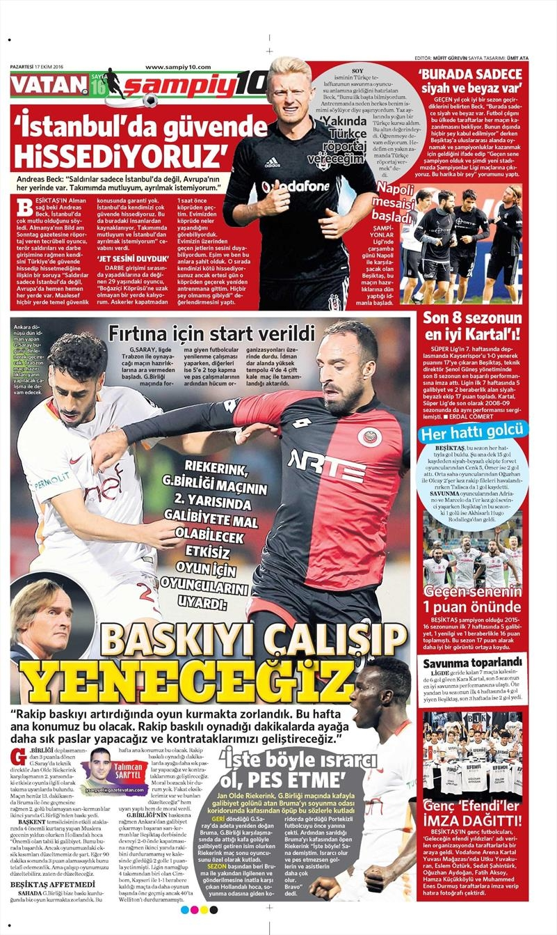 17 Ekim 2016 | Gazetelerin Beşiktaş manşetleri 13