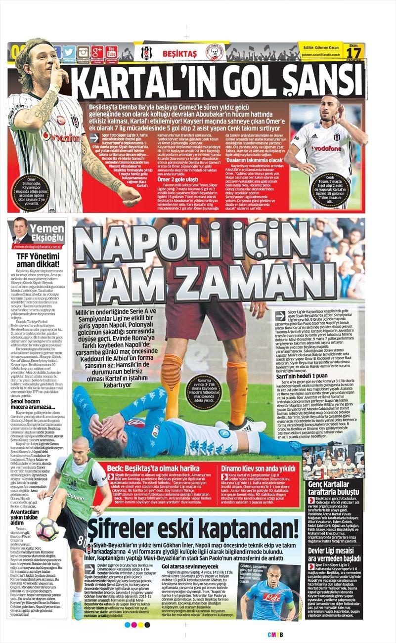 17 Ekim 2016 | Gazetelerin Beşiktaş manşetleri 2