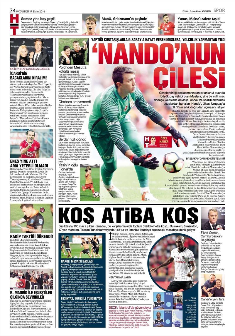 17 Ekim 2016 | Gazetelerin Beşiktaş manşetleri 5