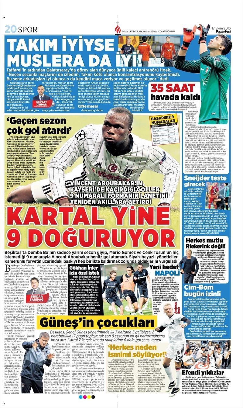17 Ekim 2016 | Gazetelerin Beşiktaş manşetleri 7