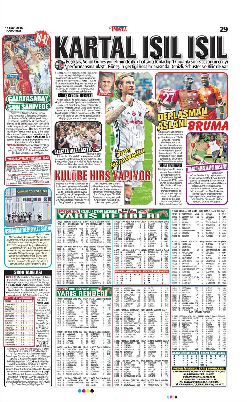 17 Ekim 2016 | Gazetelerin Beşiktaş manşetleri 8