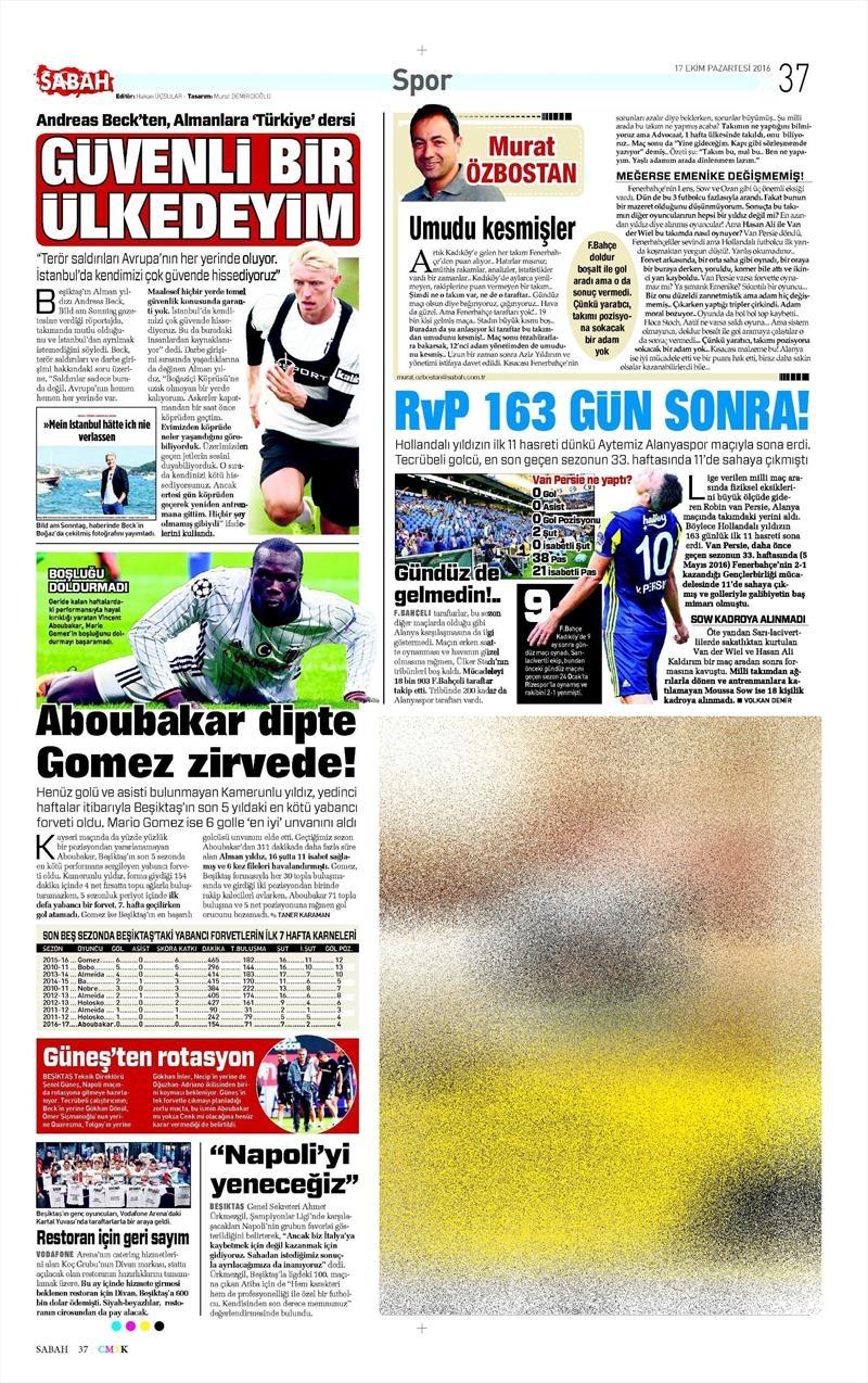 17 Ekim 2016 | Gazetelerin Beşiktaş manşetleri 9