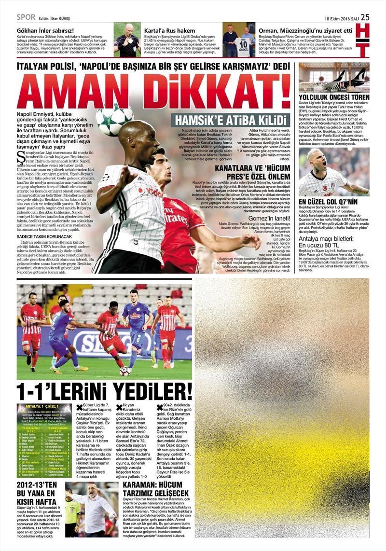 18 Ekim 2016 | Gazetelerin Beşiktaş manşetleri 10