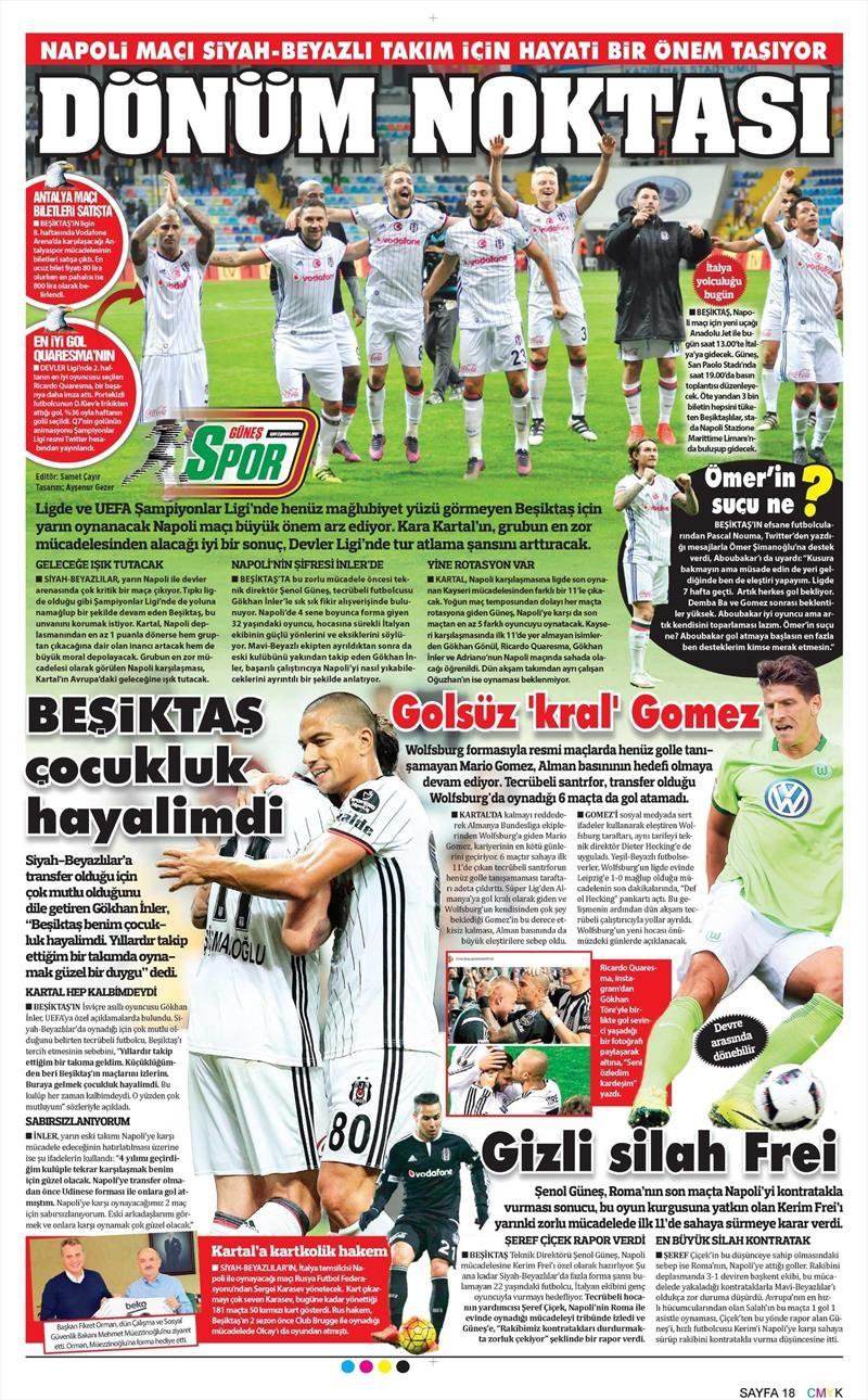 18 Ekim 2016 | Gazetelerin Beşiktaş manşetleri 11