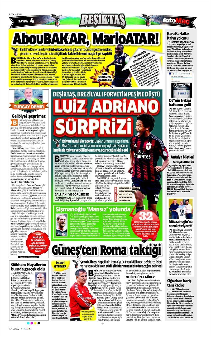 18 Ekim 2016   Gazetelerin Beşiktaş manşetleri 12