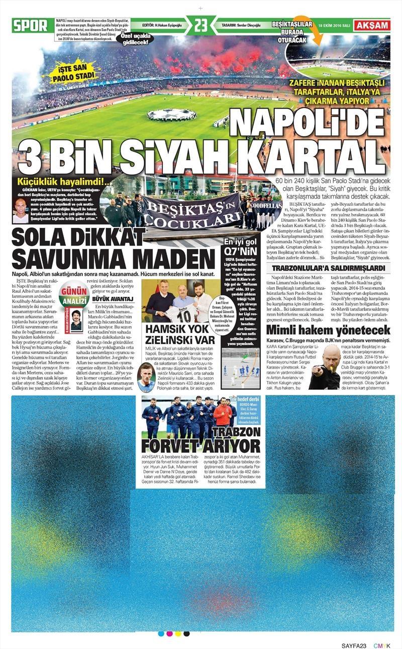 18 Ekim 2016 | Gazetelerin Beşiktaş manşetleri 13