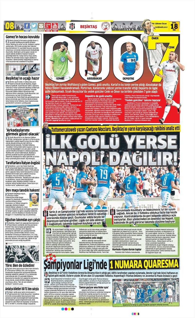 18 Ekim 2016 | Gazetelerin Beşiktaş manşetleri 14