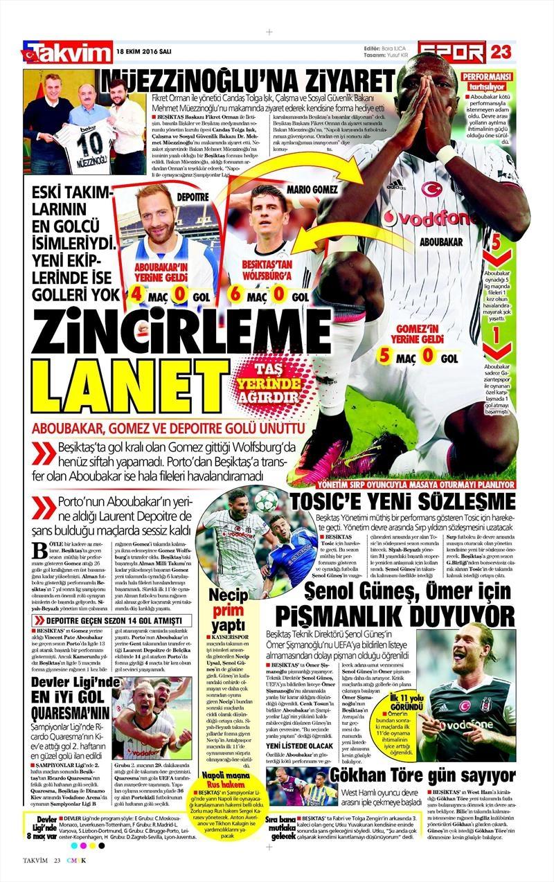 18 Ekim 2016 | Gazetelerin Beşiktaş manşetleri 3