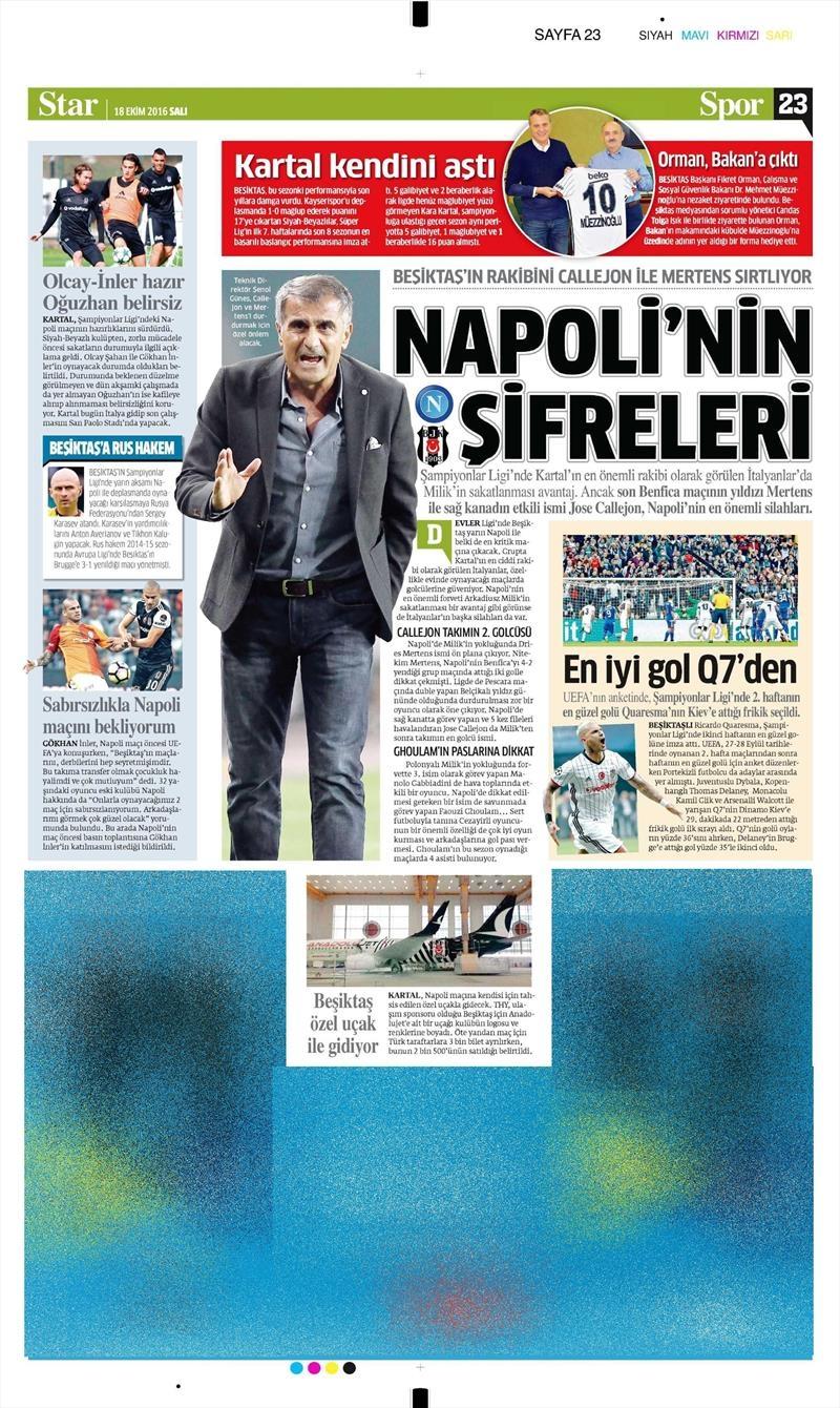 18 Ekim 2016 | Gazetelerin Beşiktaş manşetleri 4