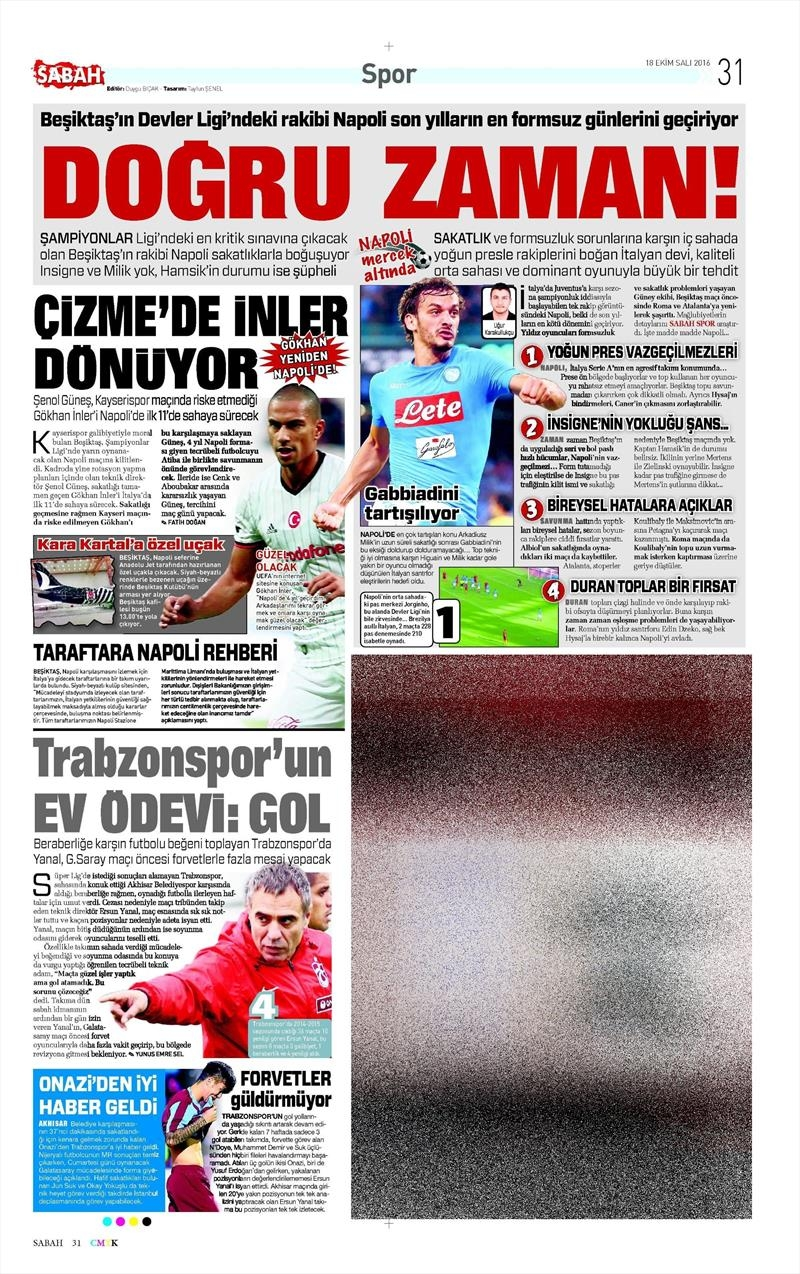 18 Ekim 2016 | Gazetelerin Beşiktaş manşetleri 5