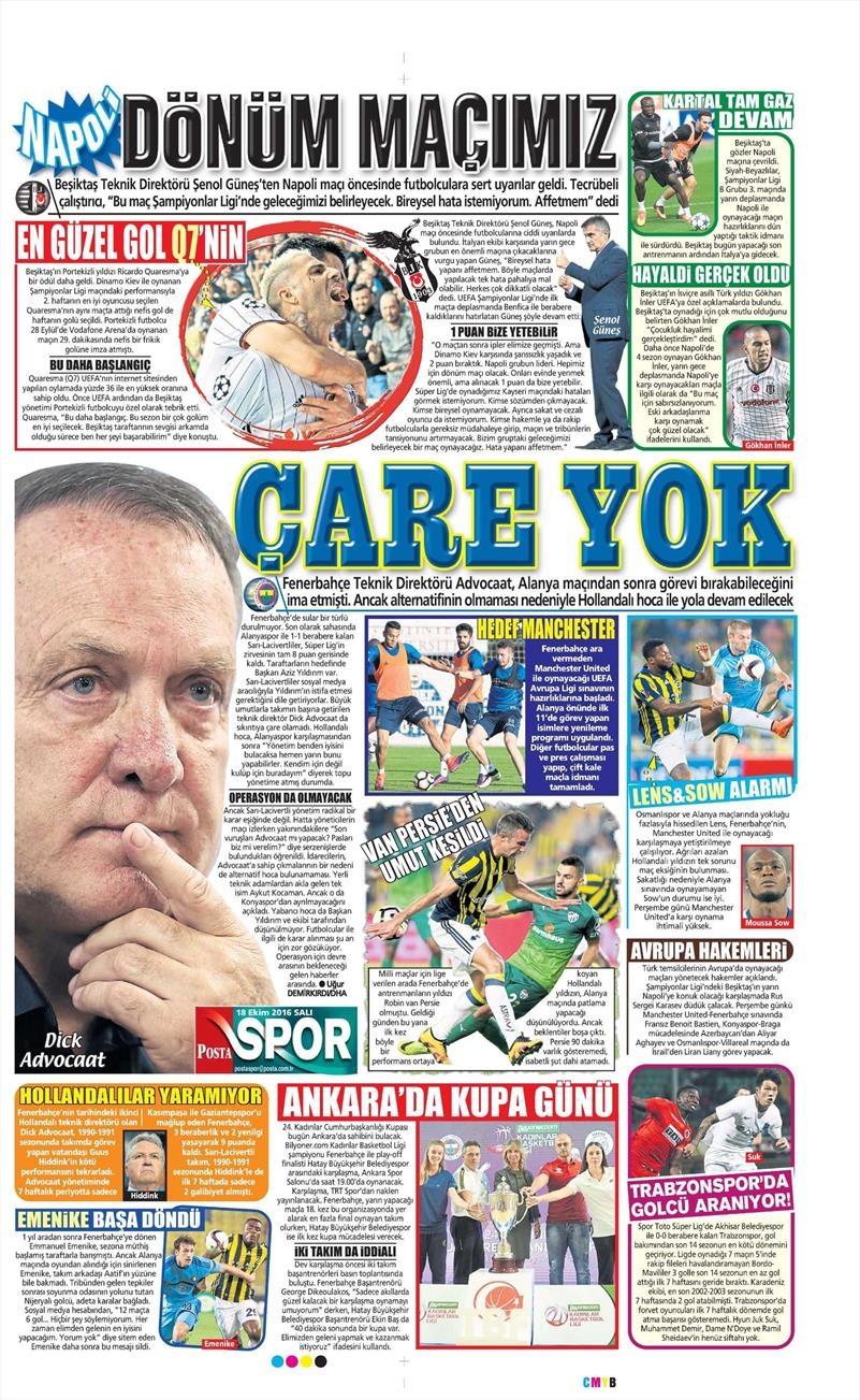 18 Ekim 2016 | Gazetelerin Beşiktaş manşetleri 6