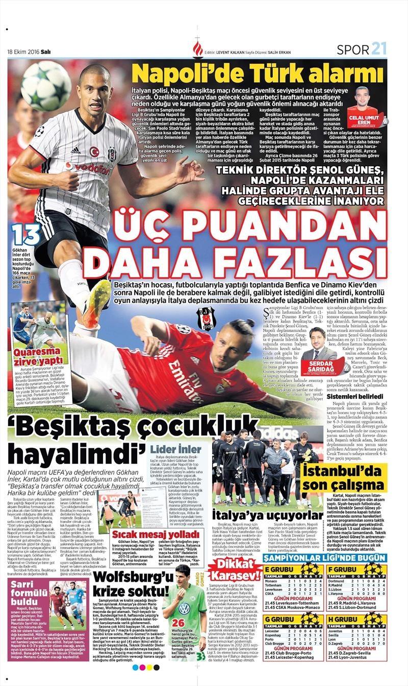 18 Ekim 2016 | Gazetelerin Beşiktaş manşetleri 7