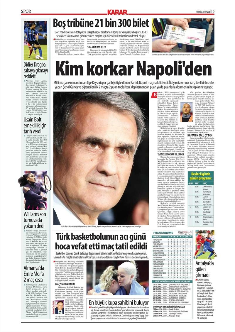 18 Ekim 2016 | Gazetelerin Beşiktaş manşetleri 8
