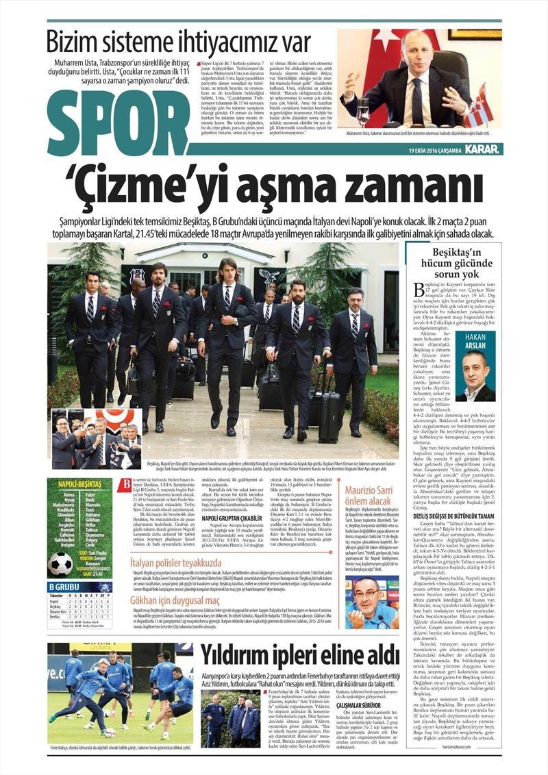 19 Ekim Çarşamba | Gazetelerin Beşiktaş Manşetleri 12
