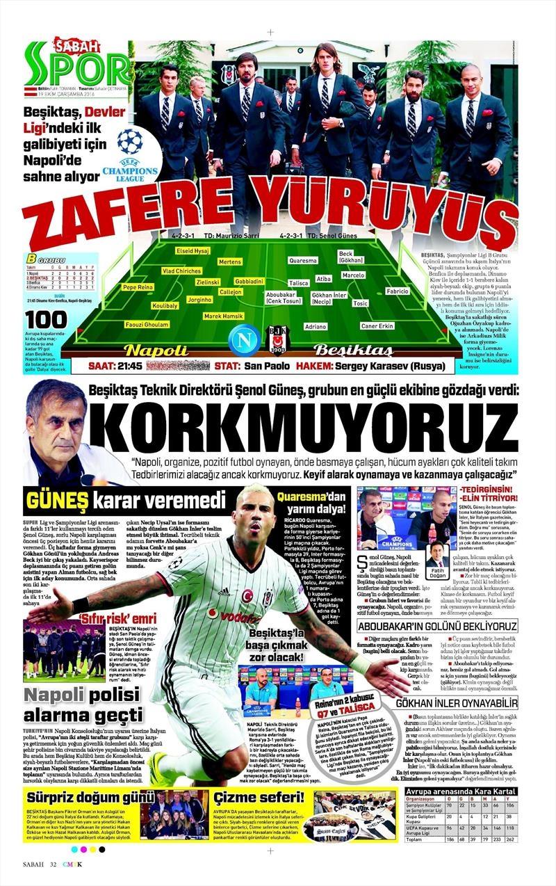 19 Ekim Çarşamba | Gazetelerin Beşiktaş Manşetleri 15