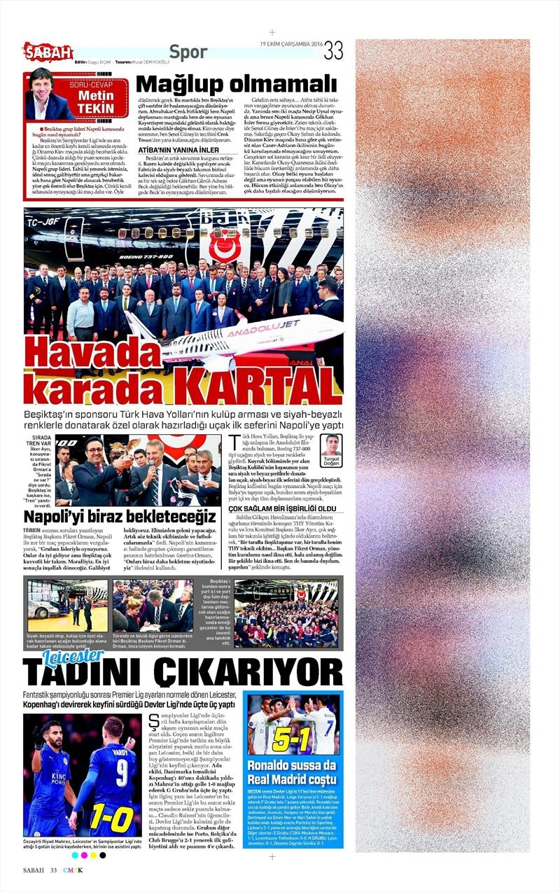 19 Ekim Çarşamba | Gazetelerin Beşiktaş Manşetleri 16
