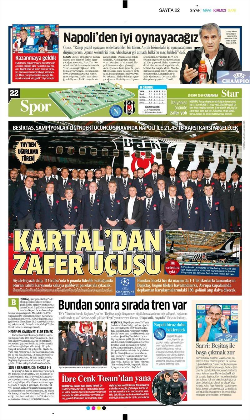 19 Ekim Çarşamba | Gazetelerin Beşiktaş Manşetleri 17