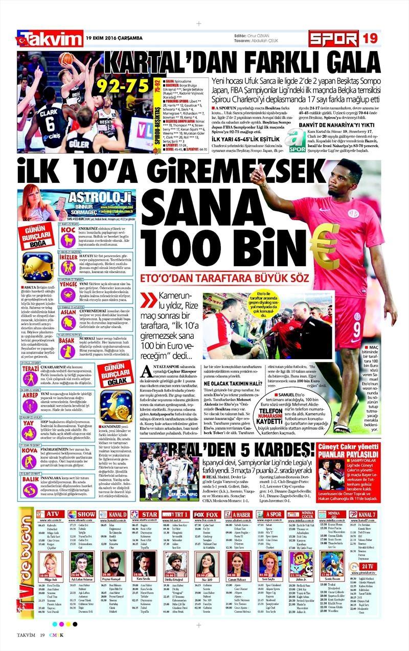 19 Ekim Çarşamba   Gazetelerin Beşiktaş Manşetleri 18