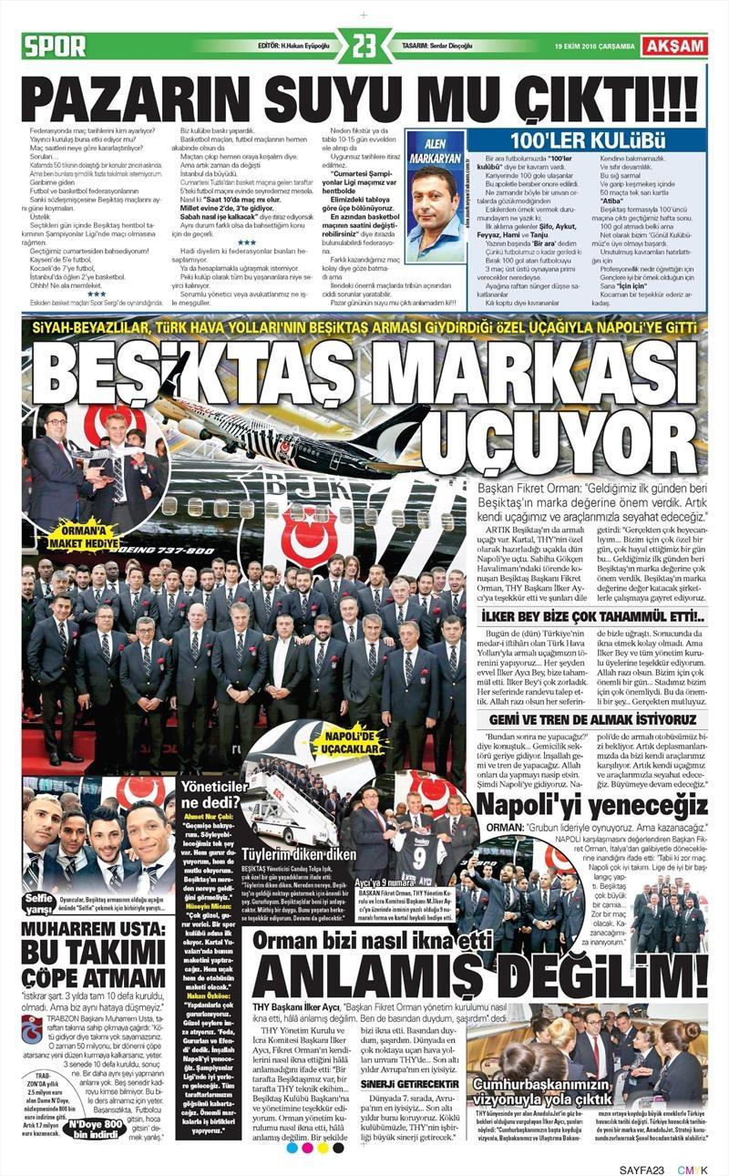 19 Ekim Çarşamba   Gazetelerin Beşiktaş Manşetleri 2