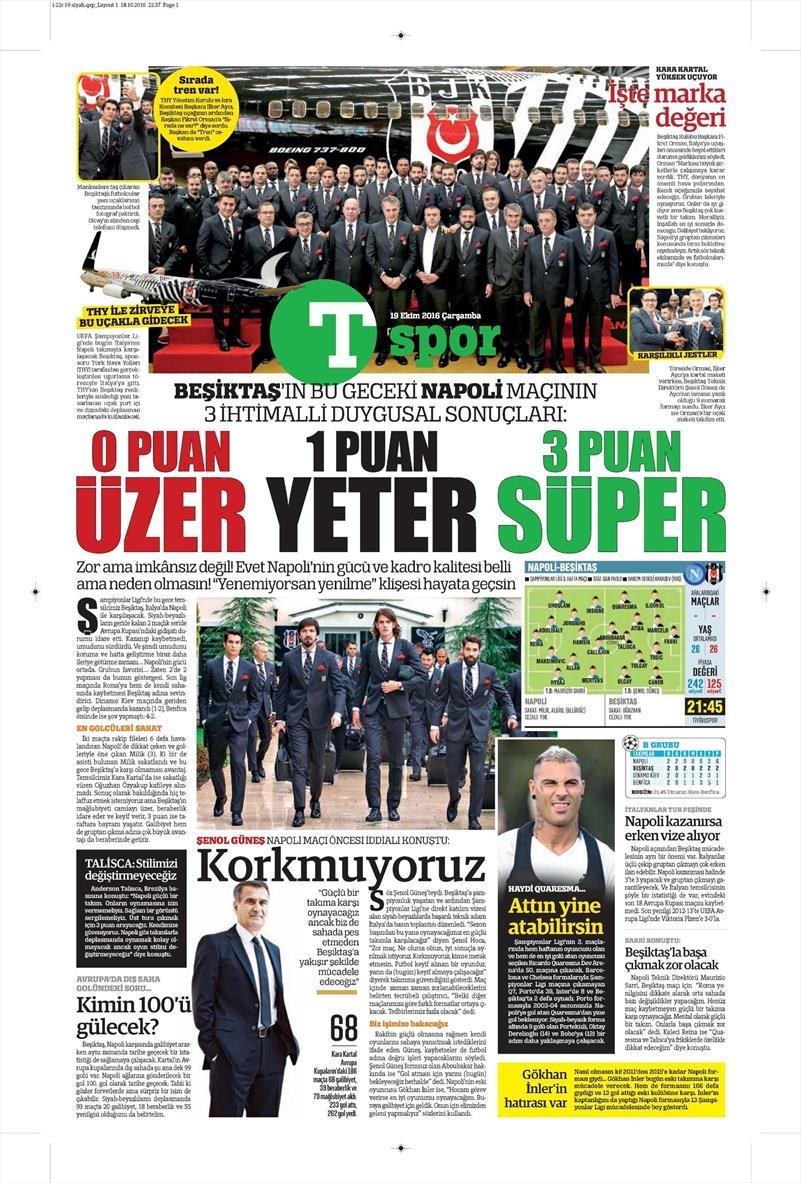 19 Ekim Çarşamba | Gazetelerin Beşiktaş Manşetleri 20