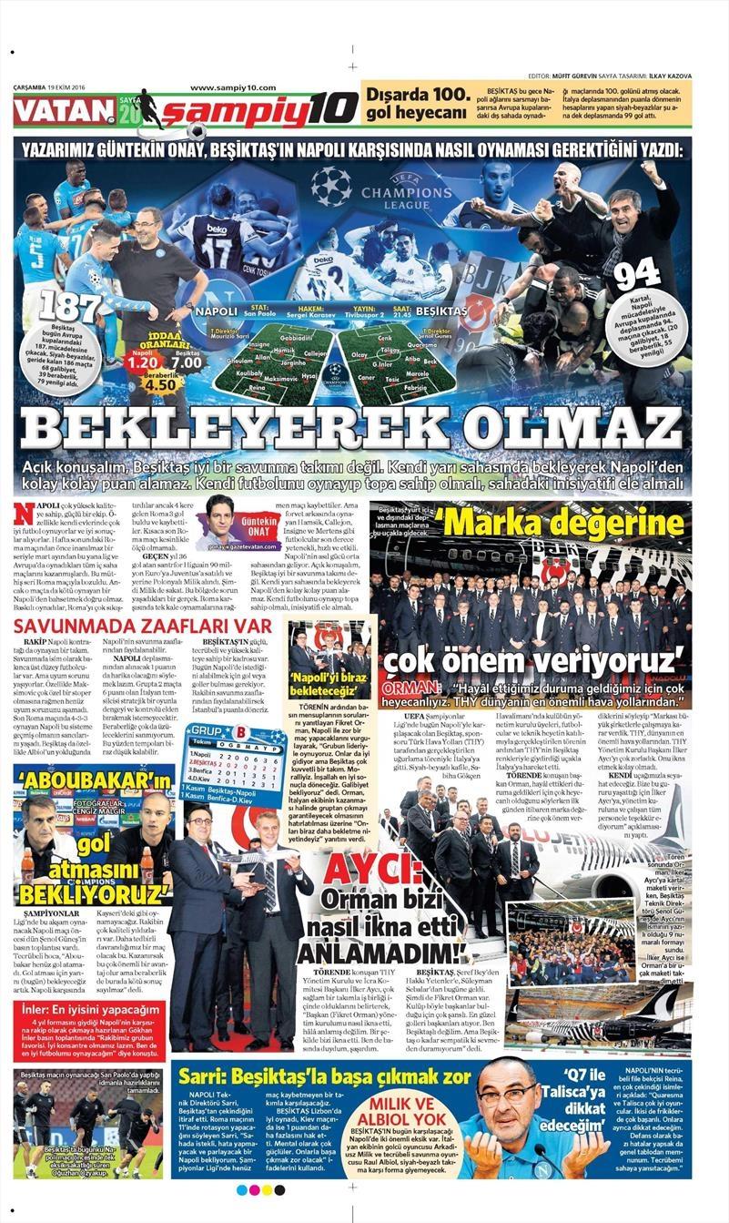 19 Ekim Çarşamba | Gazetelerin Beşiktaş Manşetleri 21