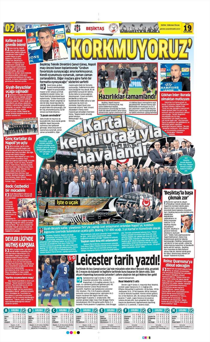 19 Ekim Çarşamba | Gazetelerin Beşiktaş Manşetleri 4