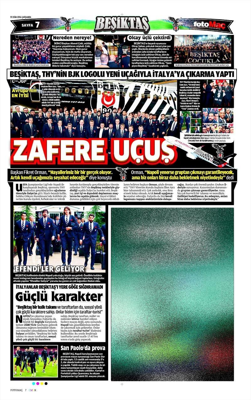 19 Ekim Çarşamba | Gazetelerin Beşiktaş Manşetleri 7