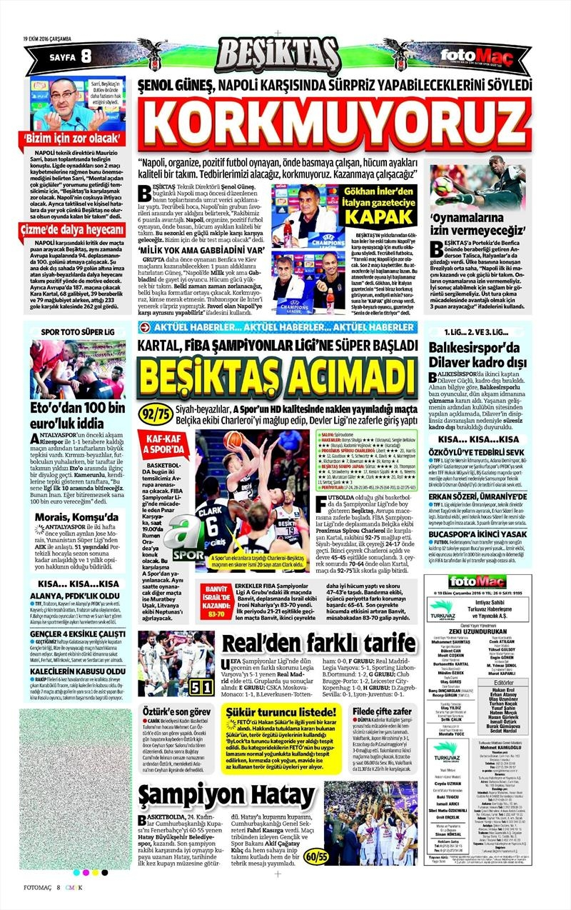 19 Ekim Çarşamba | Gazetelerin Beşiktaş Manşetleri 8