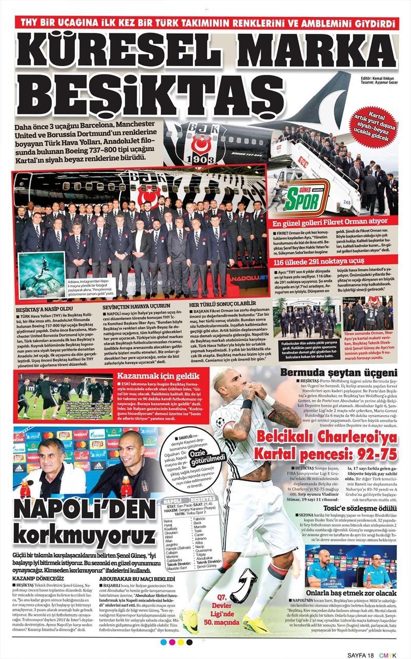 19 Ekim Çarşamba | Gazetelerin Beşiktaş Manşetleri 9