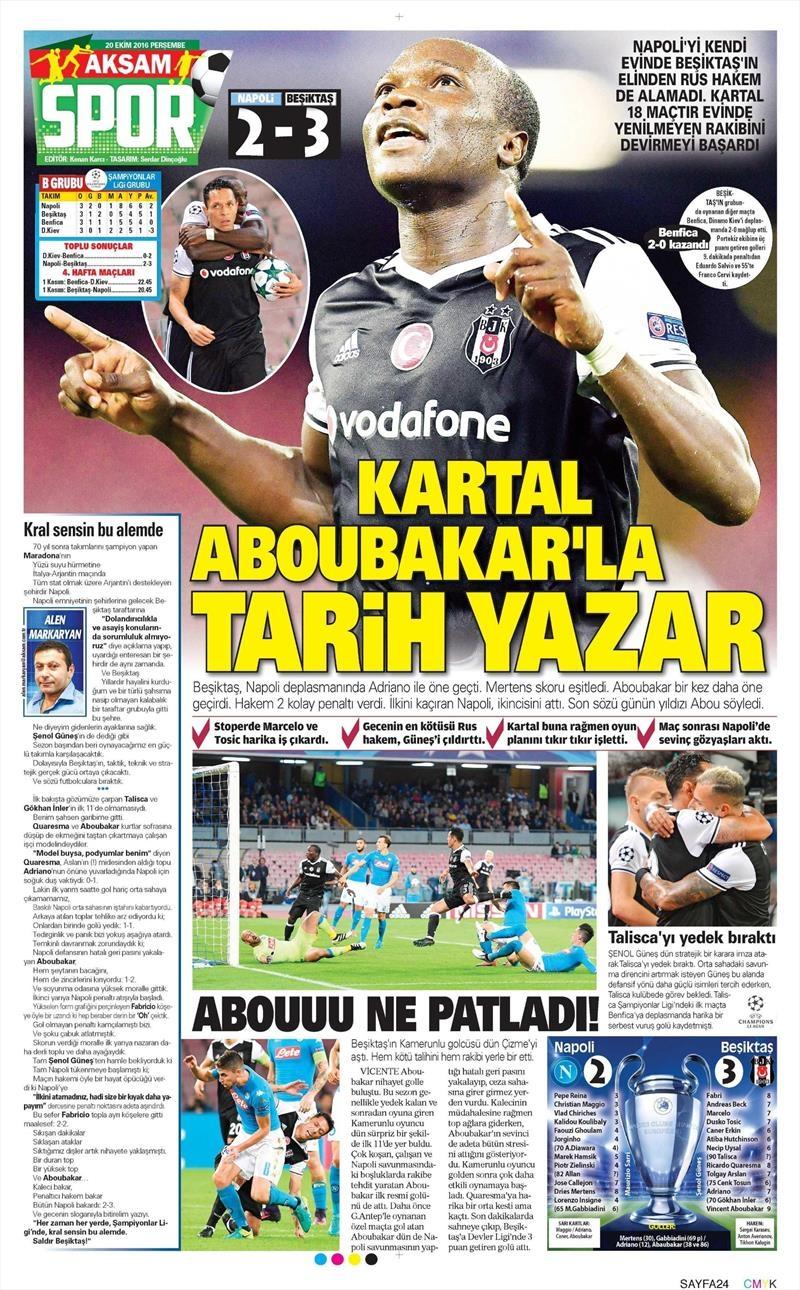 20 Ekim 016 | Gazetelerin Beşiktaş Sayfaları 1