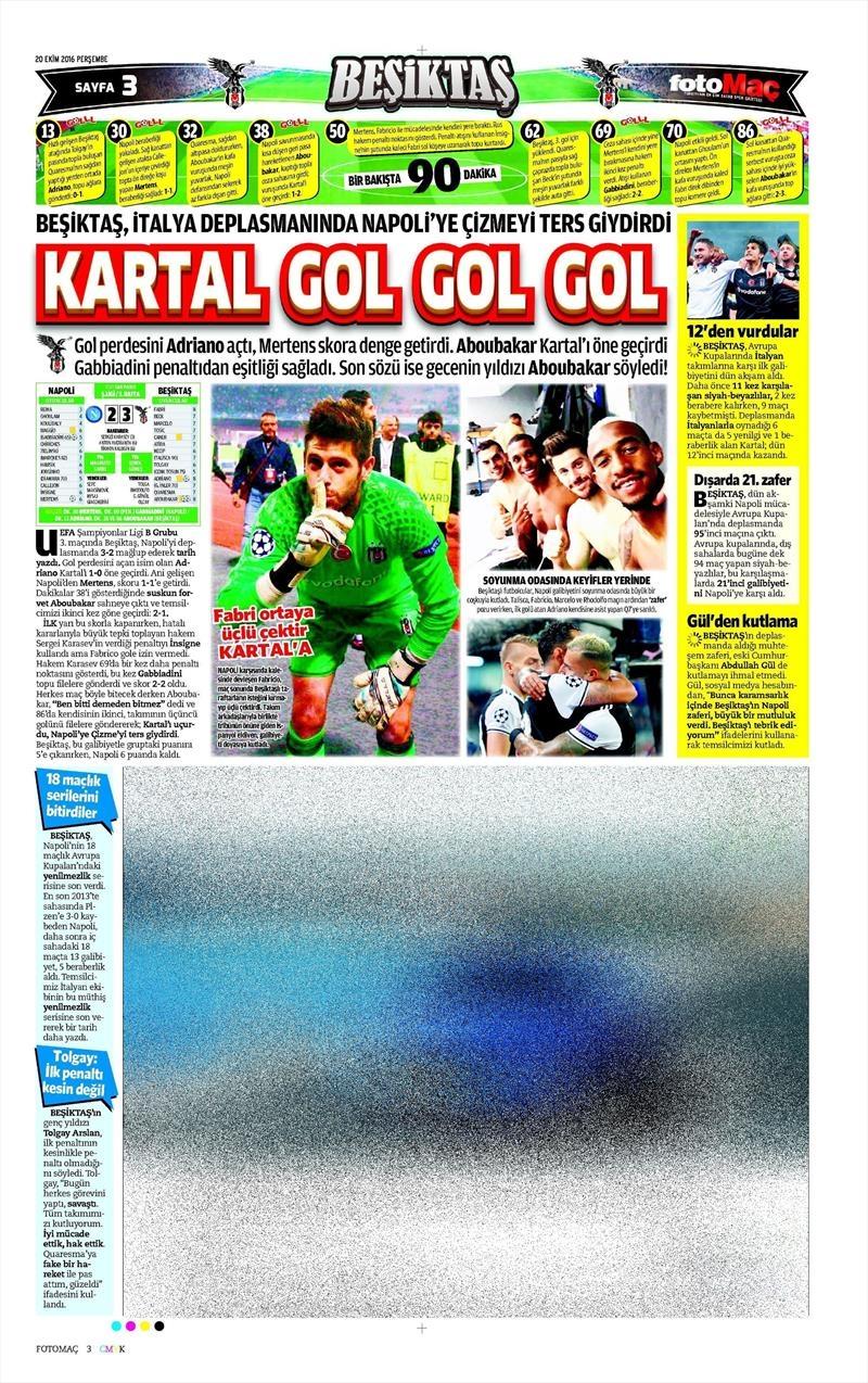 20 Ekim 016   Gazetelerin Beşiktaş Sayfaları 11