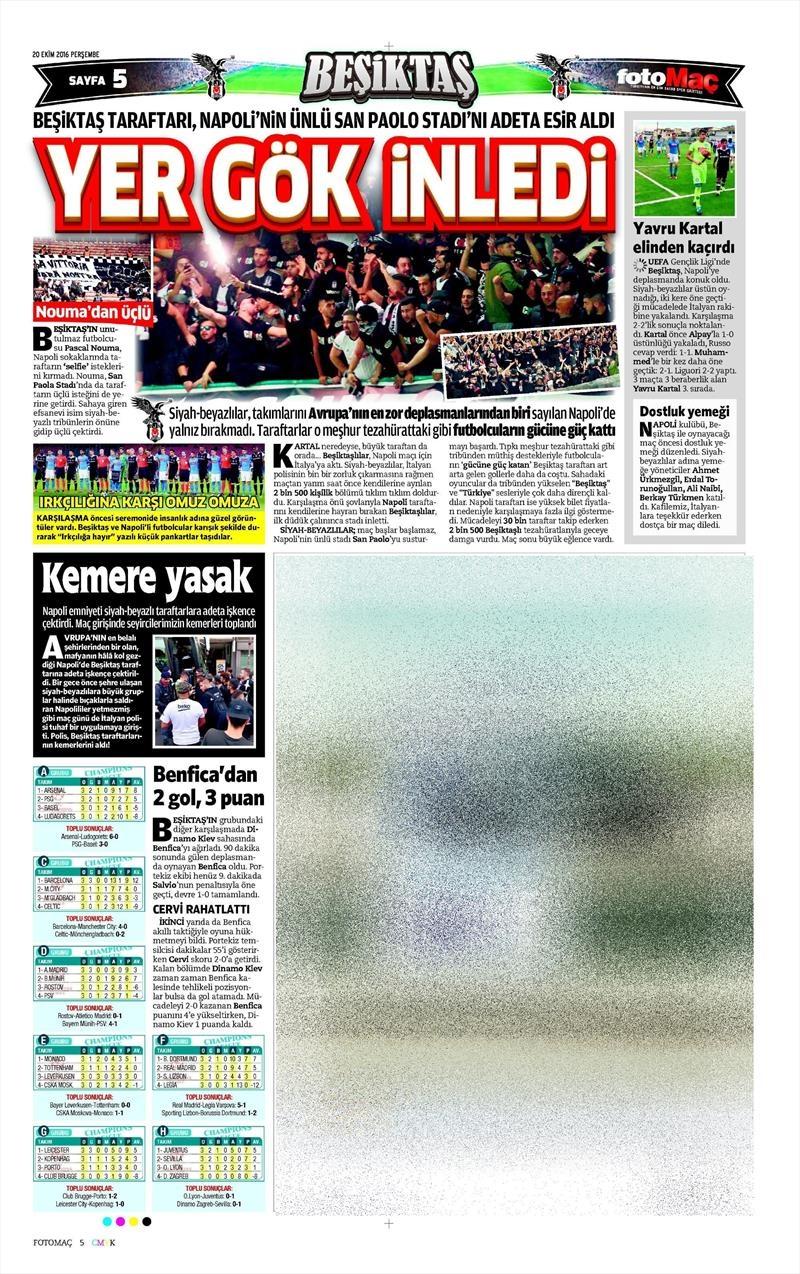 20 Ekim 016 | Gazetelerin Beşiktaş Sayfaları 12