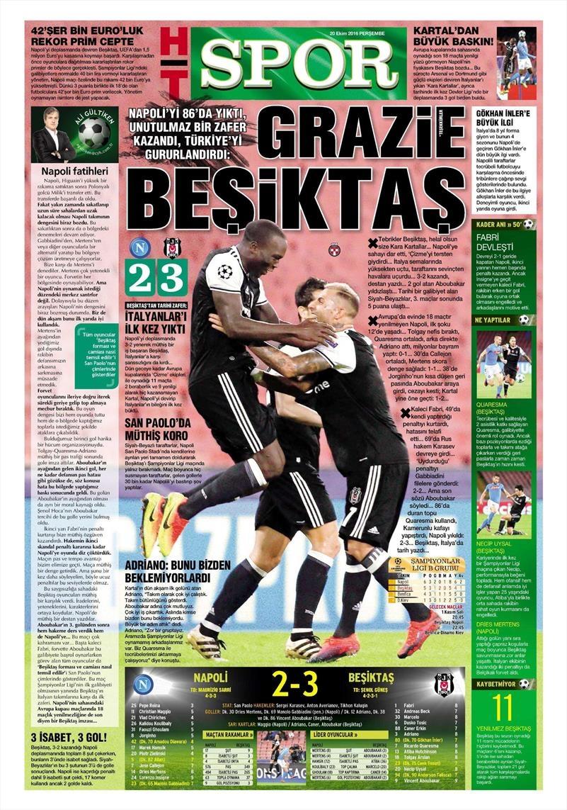 20 Ekim 016 | Gazetelerin Beşiktaş Sayfaları 13