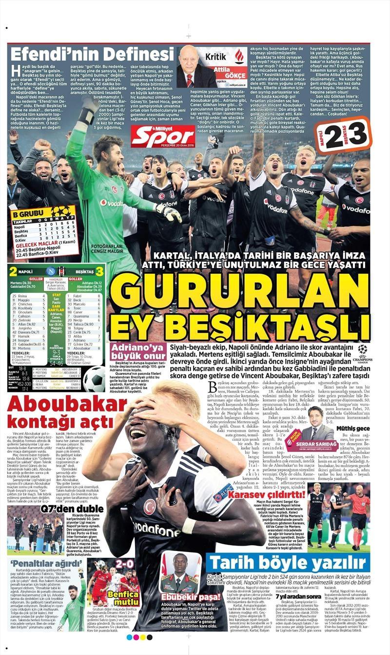 20 Ekim 016 | Gazetelerin Beşiktaş Sayfaları 18