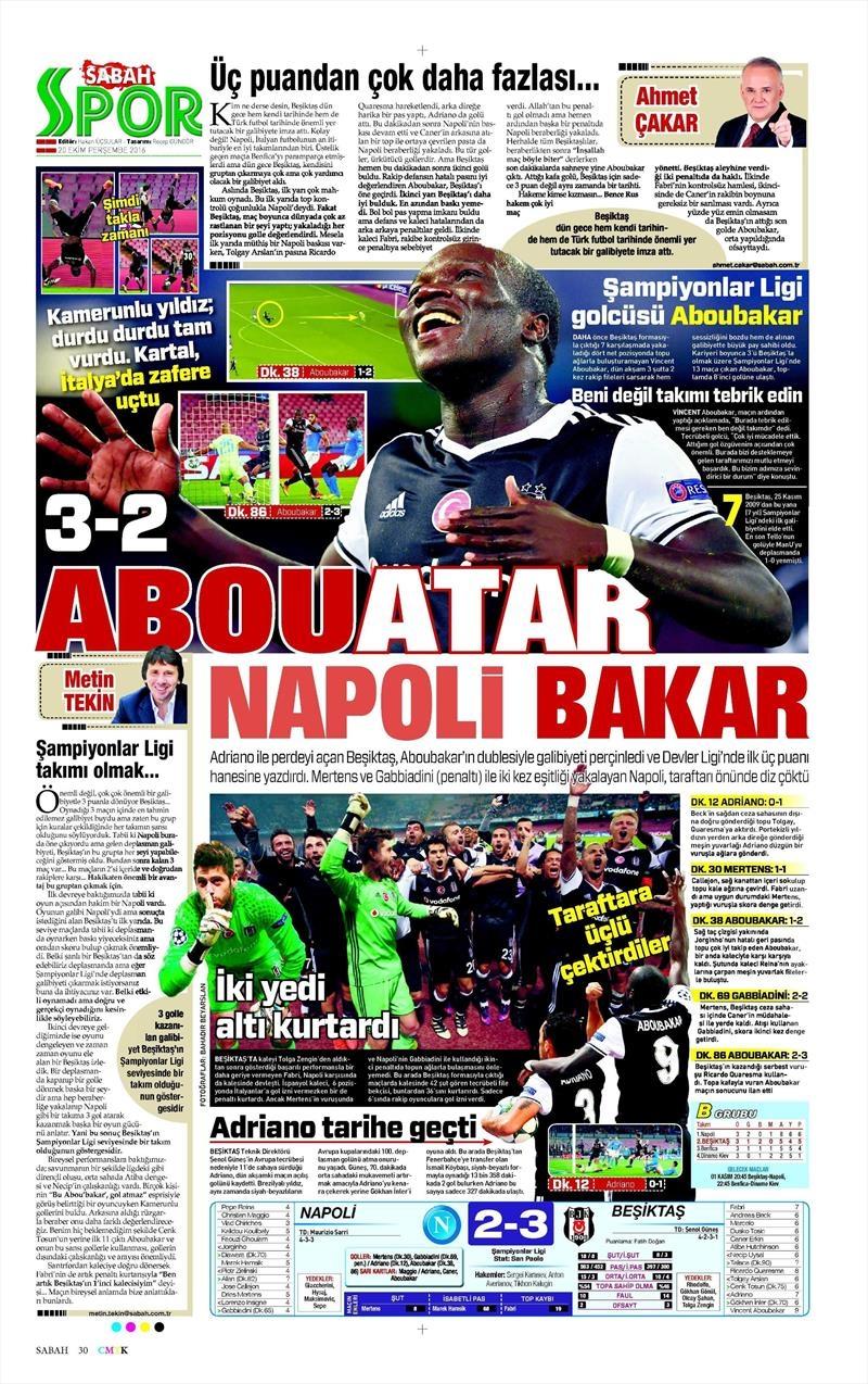20 Ekim 016 | Gazetelerin Beşiktaş Sayfaları 21
