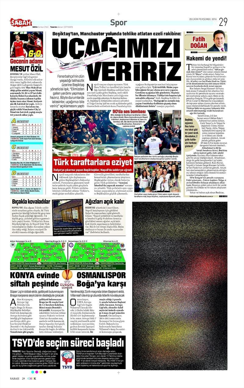 20 Ekim 016 | Gazetelerin Beşiktaş Sayfaları 22