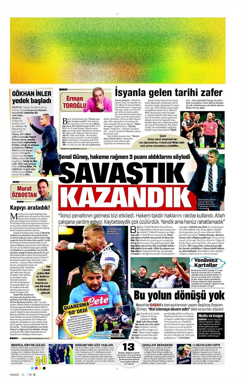 20 Ekim 016   Gazetelerin Beşiktaş Sayfaları 23