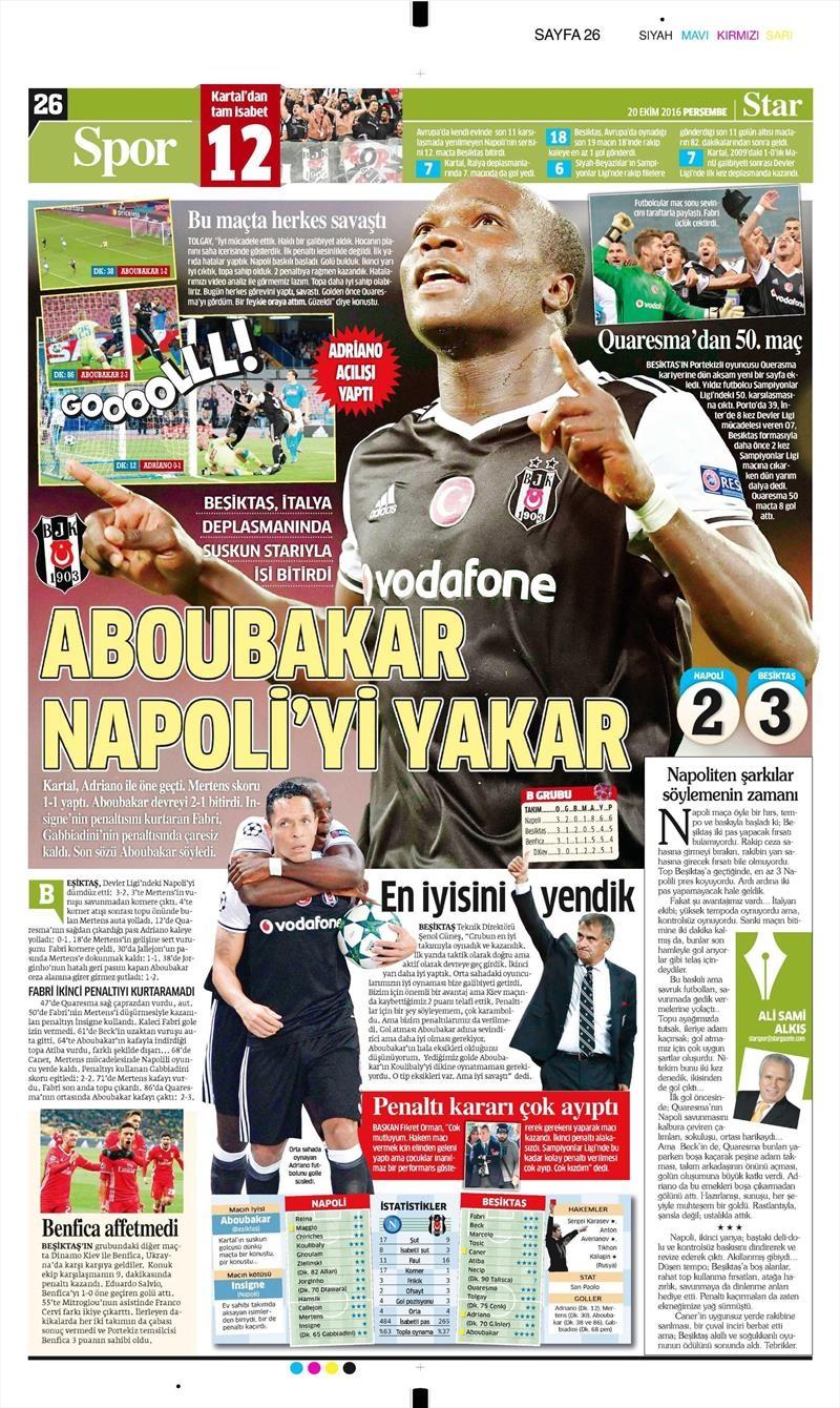 20 Ekim 016 | Gazetelerin Beşiktaş Sayfaları 24