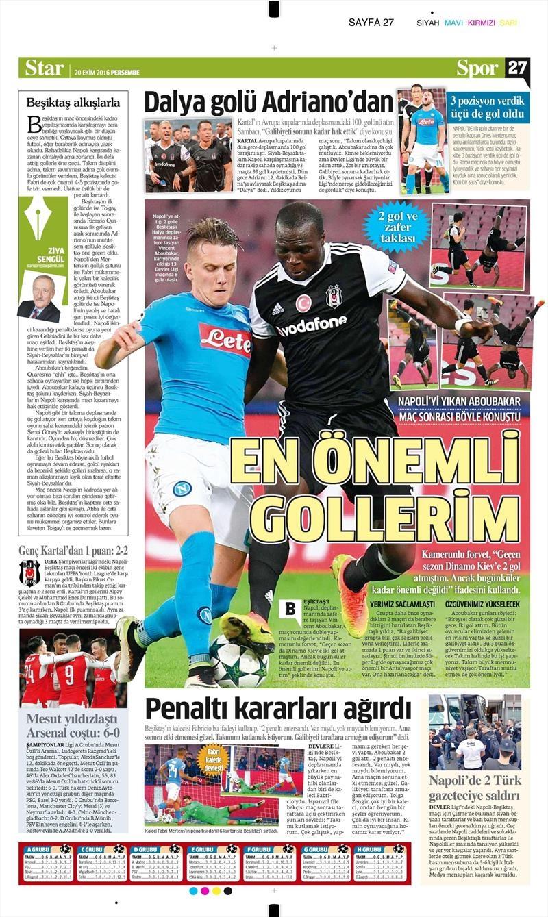 20 Ekim 016 | Gazetelerin Beşiktaş Sayfaları 25