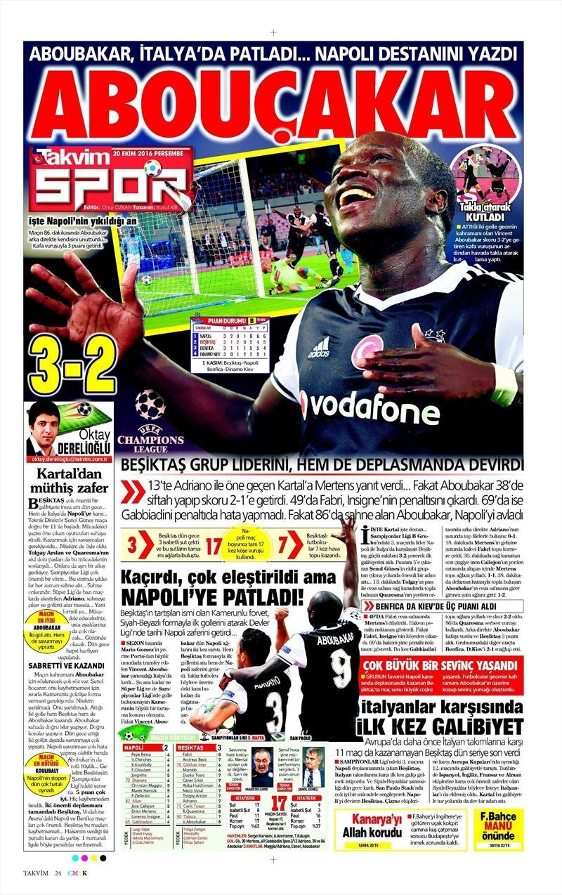 20 Ekim 016 | Gazetelerin Beşiktaş Sayfaları 27