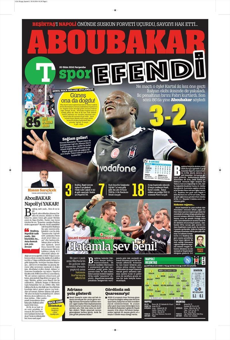 20 Ekim 016   Gazetelerin Beşiktaş Sayfaları 28